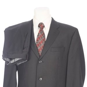 Calvin Klein 3 Button Black Pinstripe Wool Suit